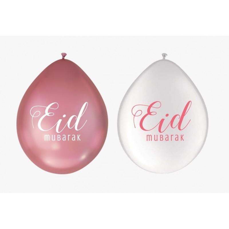 Balloon Eid Mubarak White/Pink (10pk)