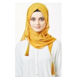 chiffon sjaal met kwastjes