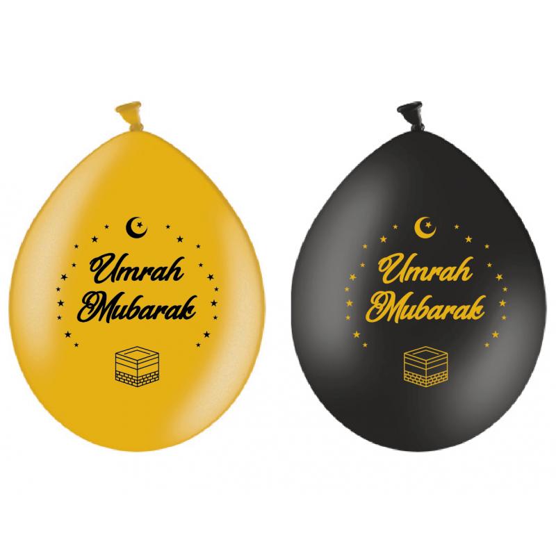 Balloons Umrah Mubarak gold/black(10pk)