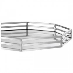 Tray with Mirror 6-Corner Silver