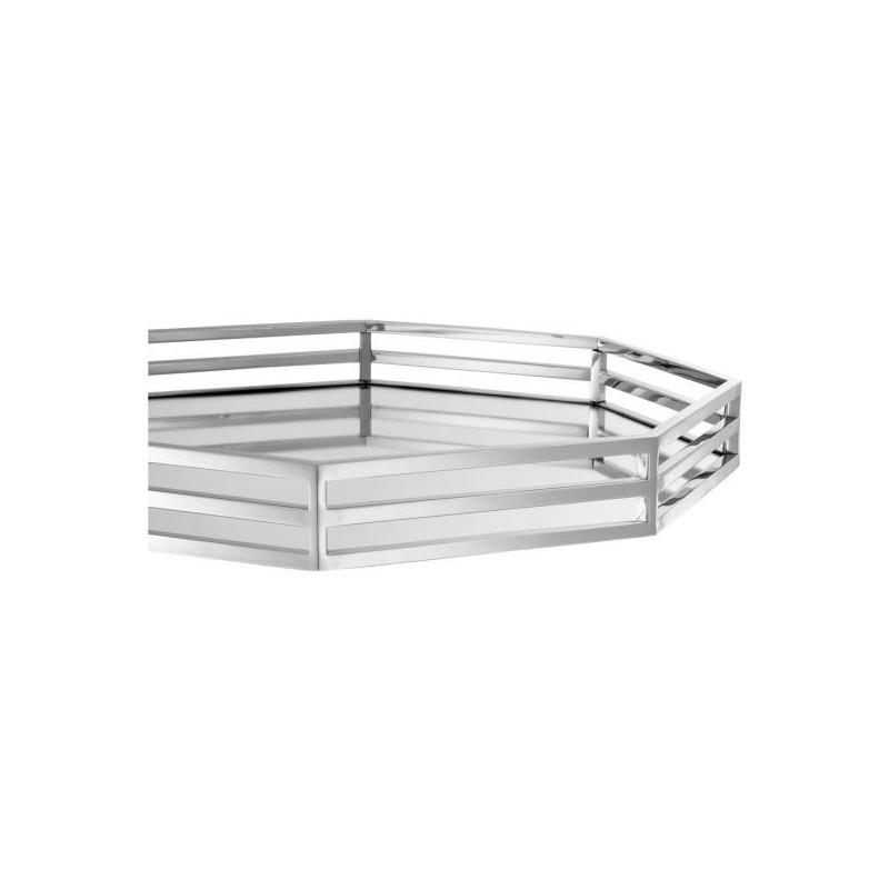Dienblad met Spiegel 6-Hoek Zilver