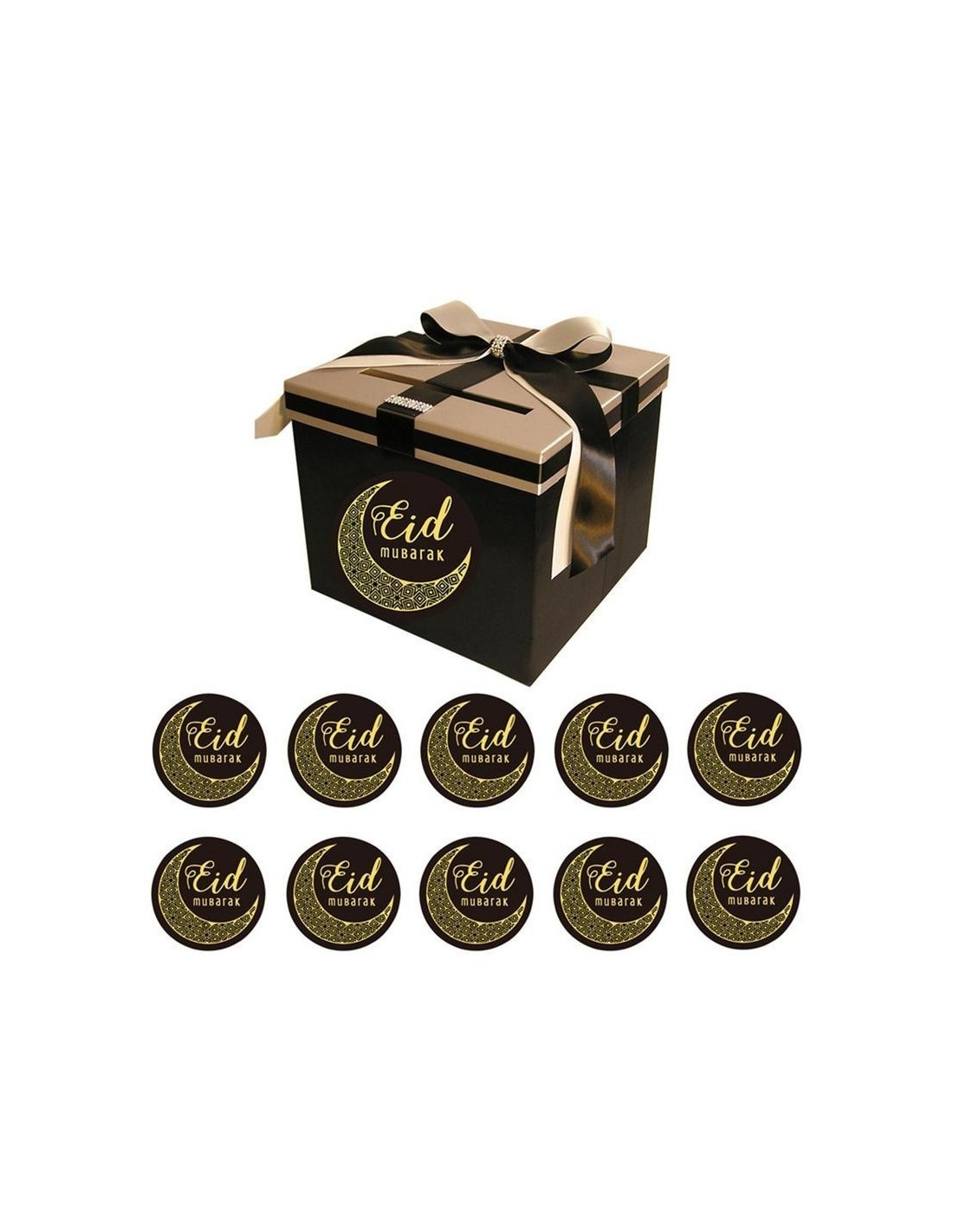 Stickers Eid Mubarak Black and gold sheet of 20 pieces