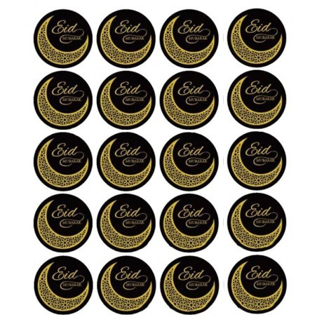 Eid Stickers 20 pieces black / gold