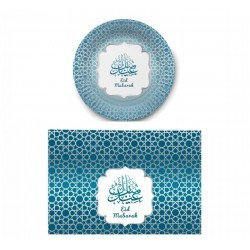 Plate + Placemat (6 persons) (blue / silver)
