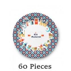 Bulk Plates Eid Mubarak cheerfull 60 pc