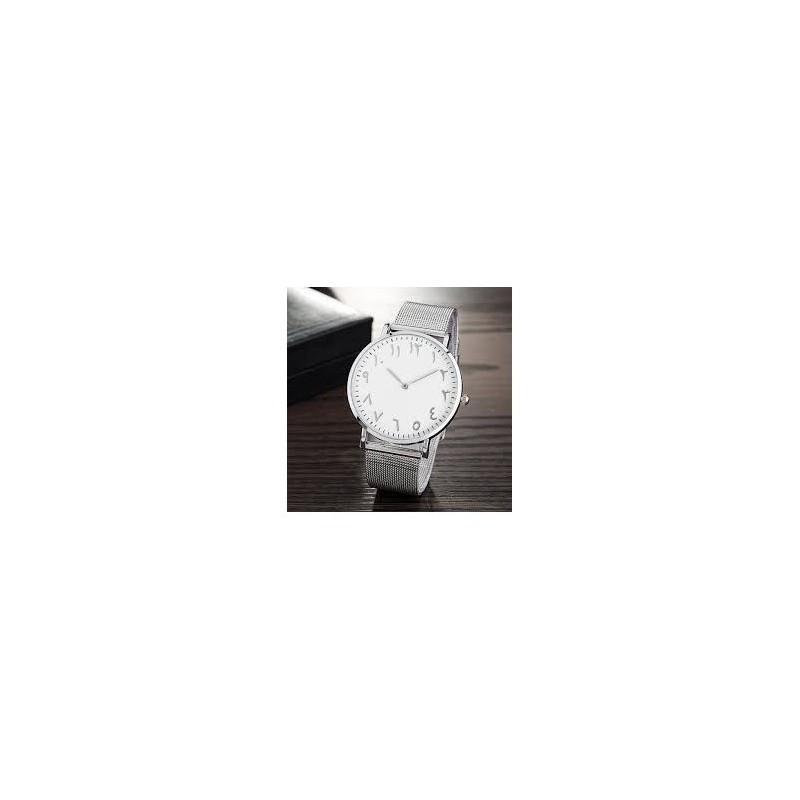 Horloge met Arabische Nummers Zilver