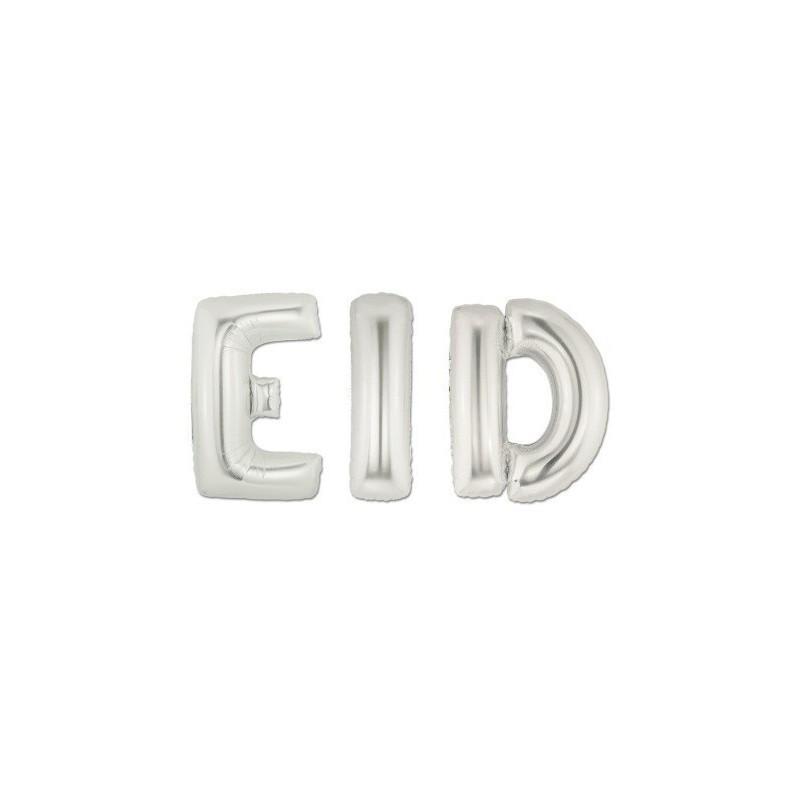 "Foil balloon ""EID"" silver"