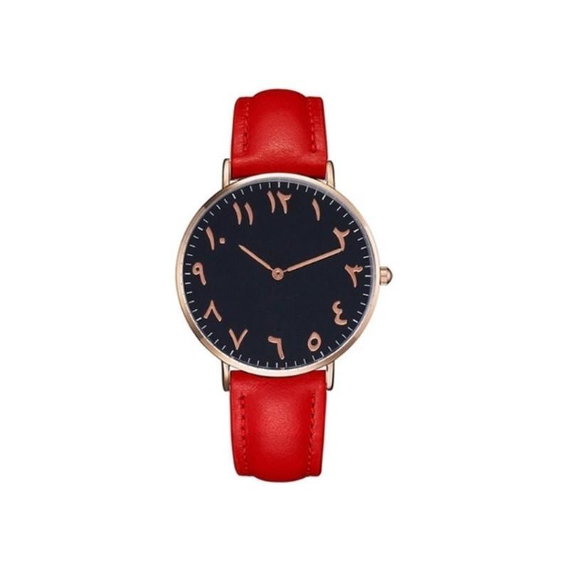 Horloge met Arabische Nummers Rood-Zwart