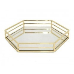 Tray with Mirror 6-Corner Gold