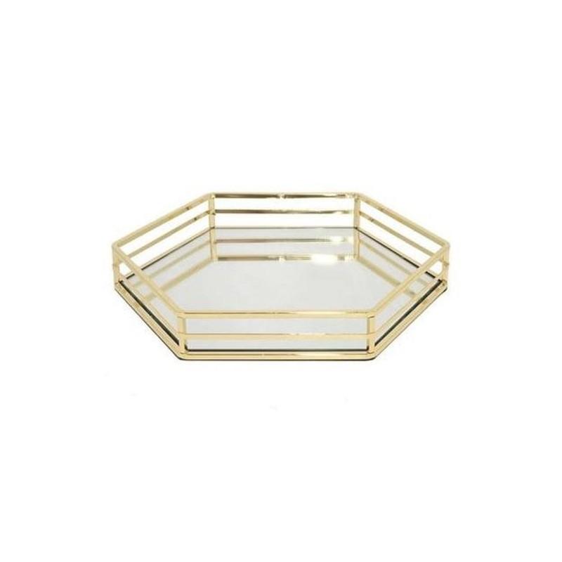 Tablett mit Spiegel 6-Eck Gold