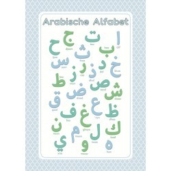 Poster Arabische Alfabet Blauw