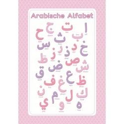 Affiche Lettres Arabes Rose