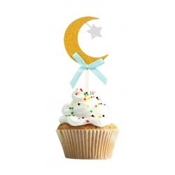 Cupcake Topper Moon- Mint