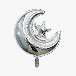 Folieballon Maan-Ster zilver