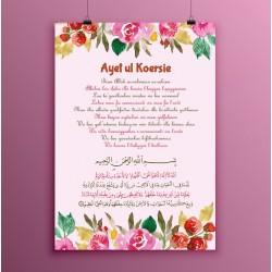 Poster Ayet ul Koersie Bloemen